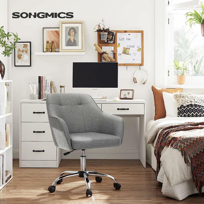 Fauteuil de bureau, Chaise pivotanteconfortable, Siège ergonomique, réglable en hauteur, charge 120 kg, cadre enacier, tissu imitation lin, pour