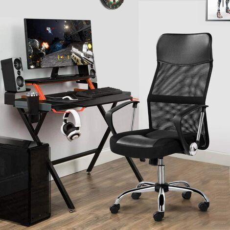 Fauteuil de bureau Chaise pour ordinateur ergonomique pivotante 360 degrés - Noir