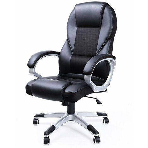 Fauteuil de bureau chaise siège noir ergonomique classique 150 kg max - Noir