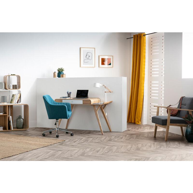 Fauteuil De Bureau Design En Tissu Bleu Canard Aleyna Miliboo Stephane Plaza