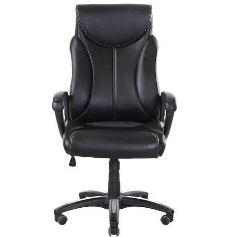 Fauteuil de bureau en simili cuir noir - Henry