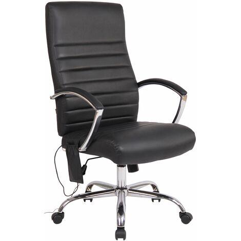 Fauteuil de bureau en similicuir noir avec fonction massage réglable en hauteur et pivotant