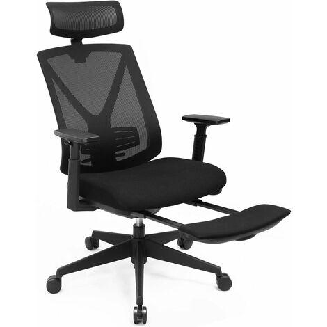 Fauteuil de bureau en toile, Chaise ergonomique, Siège, avec support lombaire, repose-pieds, appui-tête, accoudoirs, hauteur réglable, mécanisme basculant, charge 150 kg, Noir OBN61BKV1 - Noir