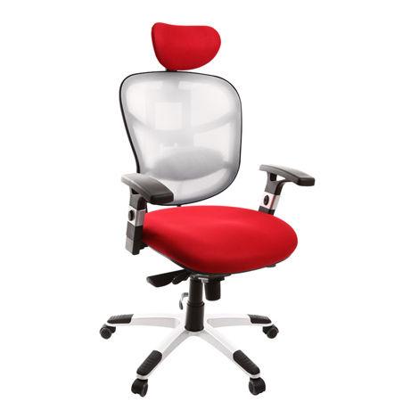 Fauteuil de bureau ergonomique blanc et rouge UP TO YOU