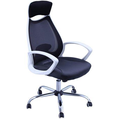 Fauteuil de bureau ergonomique en simili-cuir et maille noir et accoudoirs blanc