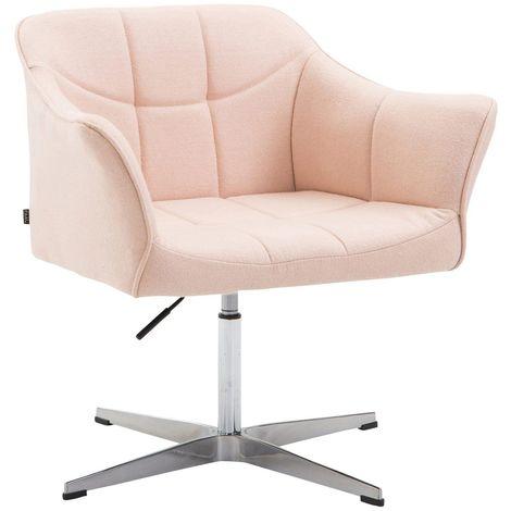 Fauteuil de bureau ergonomique sans roulettes en tissu crème hauteur réglable