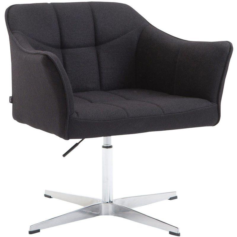 Fauteuil de bureau ergonomique sans roulettes en tissu noir hauteur réglable noir