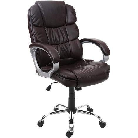 Fauteuil de bureau ergonomique sur roulettes avec accoudoirs en simili-cuir marron