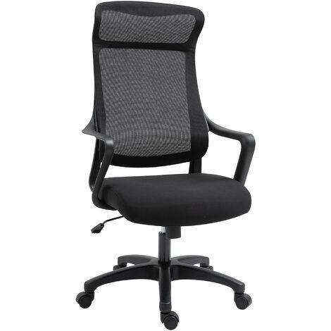Fauteuil de bureau manager ergonomique hauteur assise réglable pivotant 360° maille polyester noir