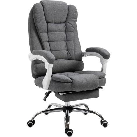 Fauteuil de bureau manager grand confort repose-pied dossier inclinable accoudoirs rembourrés lin gris