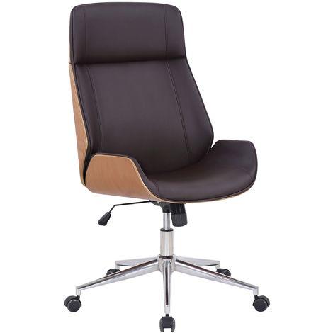 Fauteuil de bureau Varel en similicuir coque de siège en bois