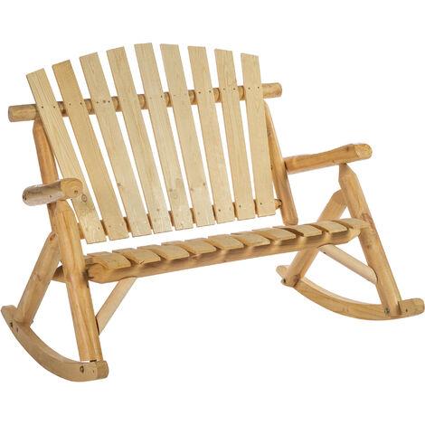 Fauteuil de jardin Adirondack à bascule 2 places rocking chair style néo-rétro assise dossier ergonomique bois naturel de pin