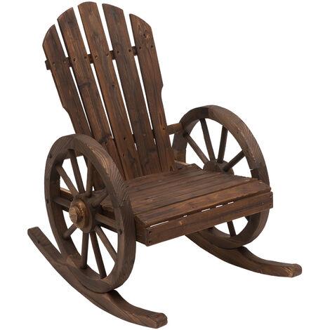 Fauteuil de jardin Adirondack à bascule rocking chair style rustique chic accoudoirs roues charette bois sapin traité carbonisation