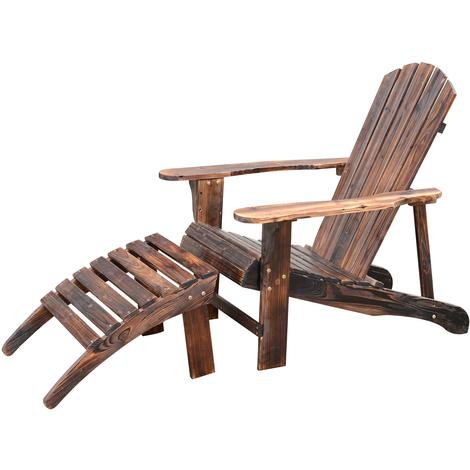 Fauteuil de jardin adirondack chaise longue chaise plage avec tabouret bois de pin