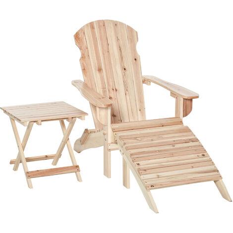 Fauteuil de jardin Adirondack pliable avec repose-pied et table basse bois sapin traité gris