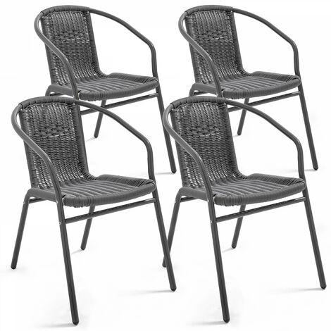 Fauteuil de jardin aluminium et résine - Gris - 104975