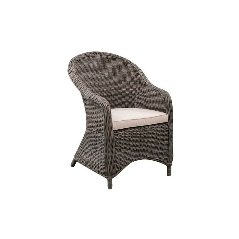 Fauteuil de jardin en acier et resine tressee - assise avec coussin - 71 x 60 x H.88 cm - Couleur rotin et Coussins Ecru