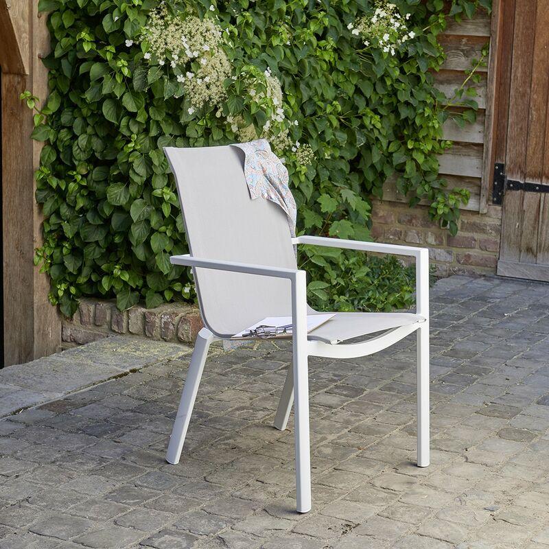 Fauteuil de jardin en aluminium blanc et textilène gris - Blanc