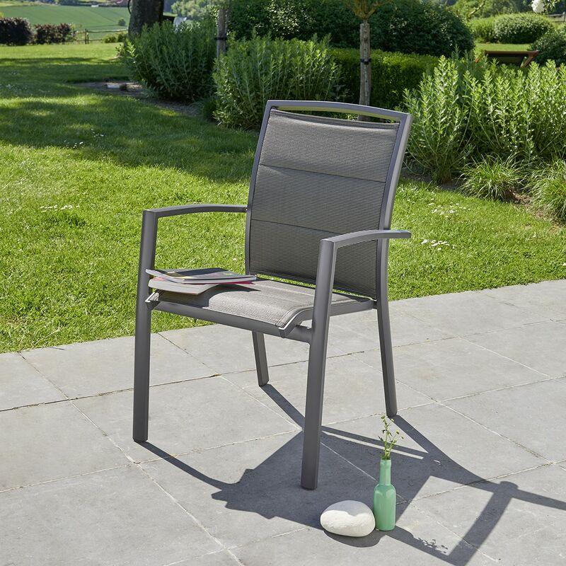 Fauteuil de jardin en aluminium et textilène gris - Gris