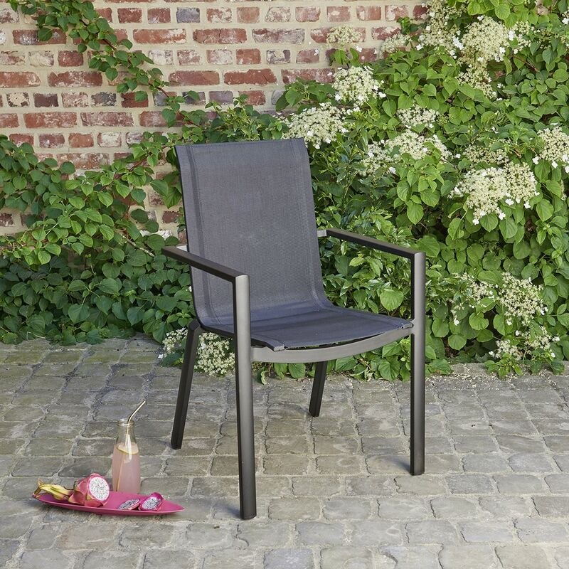 Fauteuil de jardin en aluminium et textilène noir - Noir