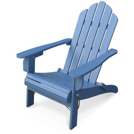 Fauteuil de jardin en bois Adirondack Salamanca bleu grisé eucalyptus FSC, chaise de terrasse retro