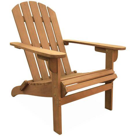 Fauteuil de jardin en bois Adirondack Salamanca eucalyptus FSC, chaise de terrasse retro, siège de plage pliable