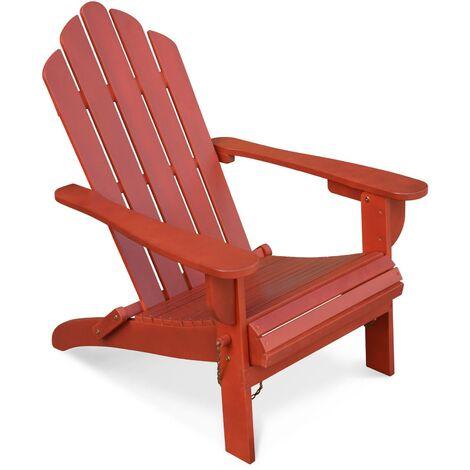 Fauteuil de jardin en bois Adirondack Salamanca terracotta eucalyptus FSC, chaise de terrasse retro