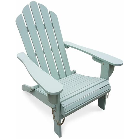 Fauteuil de jardin en bois Adirondack Salamanca vert de gris eucalyptus FSC, chaise de terrasse retro