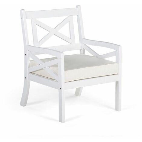 Fauteuil de jardin en bois d'acacia blanc et coussin beige