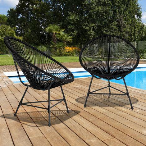 Fauteuil de jardin IZMIR noir x2 design oeuf avec cordage ...