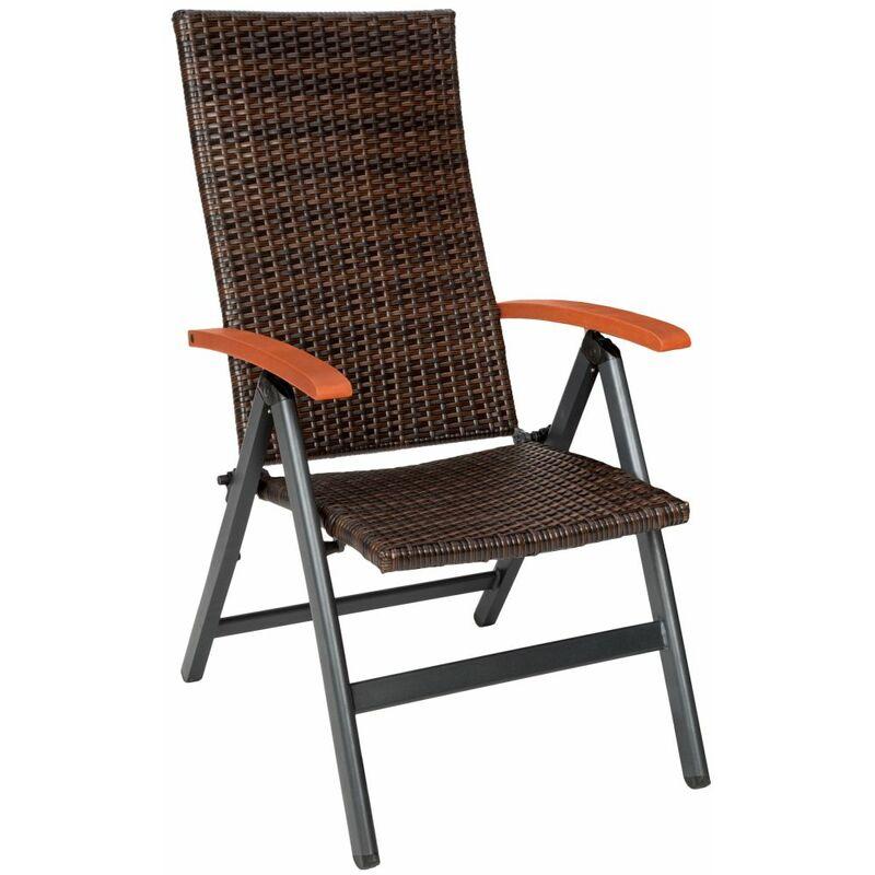 Helloshop26 - Fauteuil de jardin meuble pliable marron - Marron