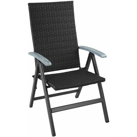 Fauteuil de jardin meuble pliable noir - Noir