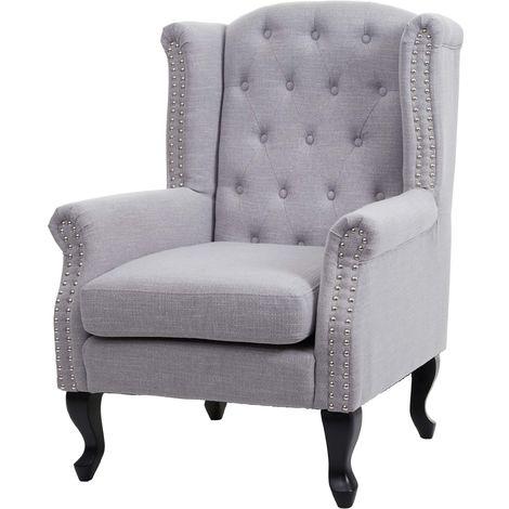 Fauteuil de luxe Chesterfield, fauteuil à oreilles, tissu hydrofuge