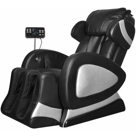 Fauteuil de massage avec écran Noir Similicuir