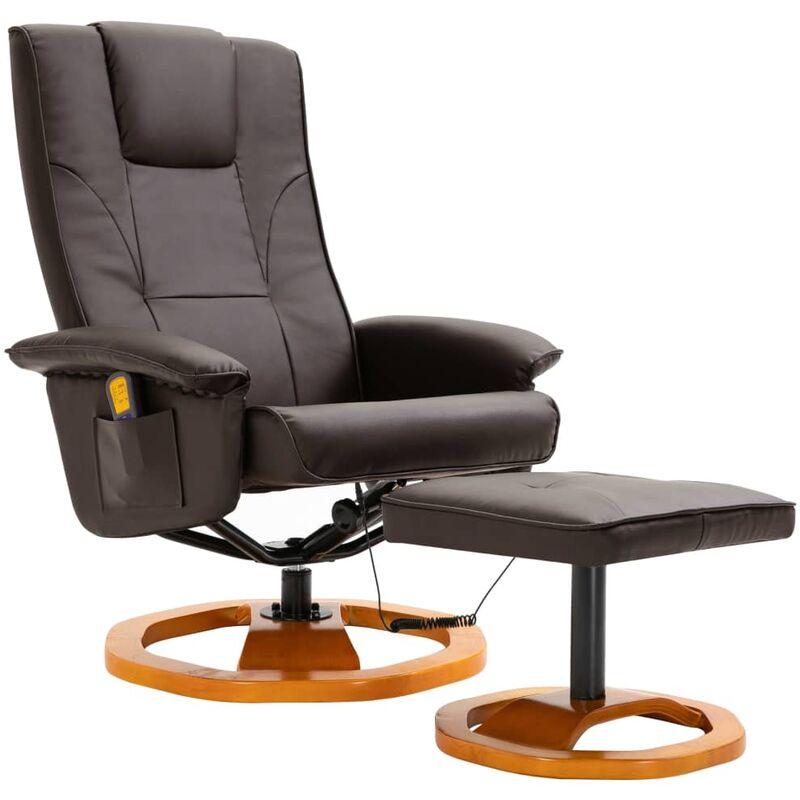 Helloshop26 - Fauteuil de massage avec repose-pied confort relaxant massant détente marron similicuir - Marron