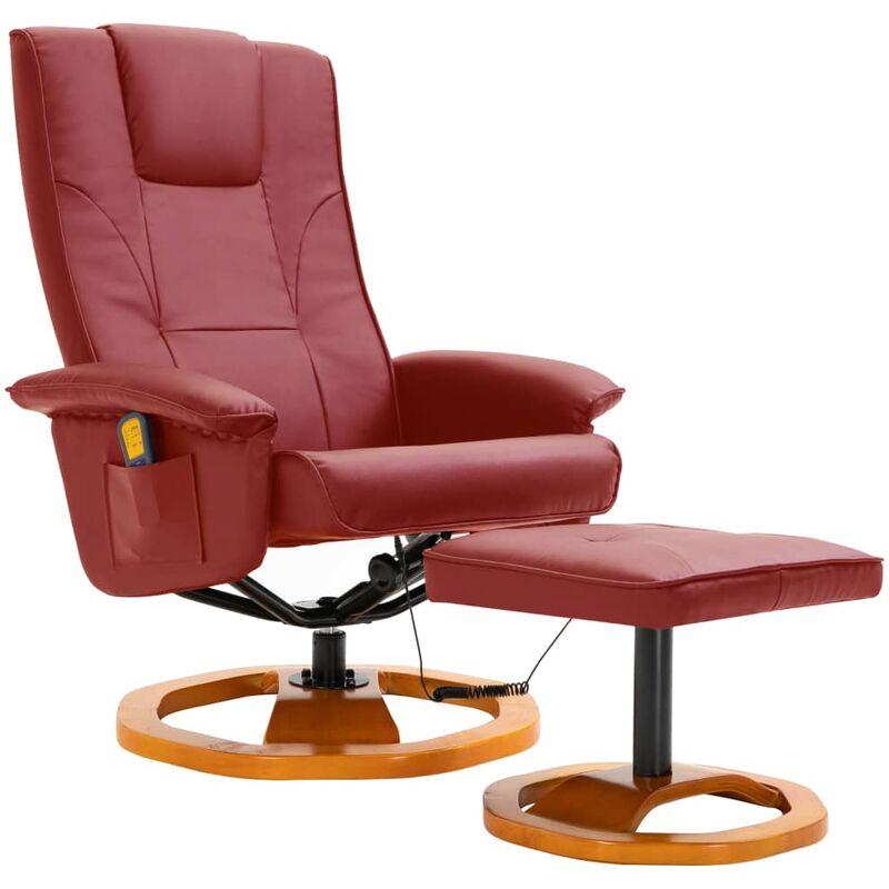 Helloshop26 - Fauteuil de massage avec repose-pied confort relaxant massant détente rouge bordeaux similicuir - Bordeaux