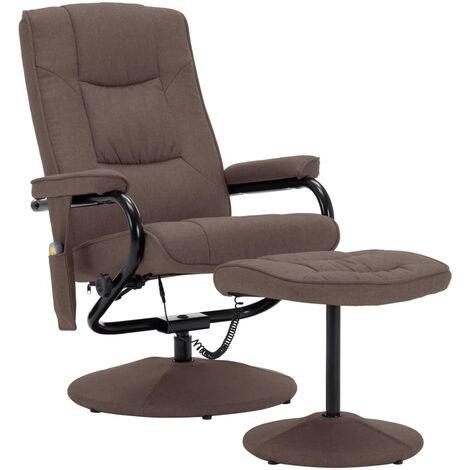 Fauteuil de massage avec repose-pied Marron Tissu
