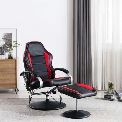 Fauteuil de massage avec repose-pied Noir et rouge Similicuir