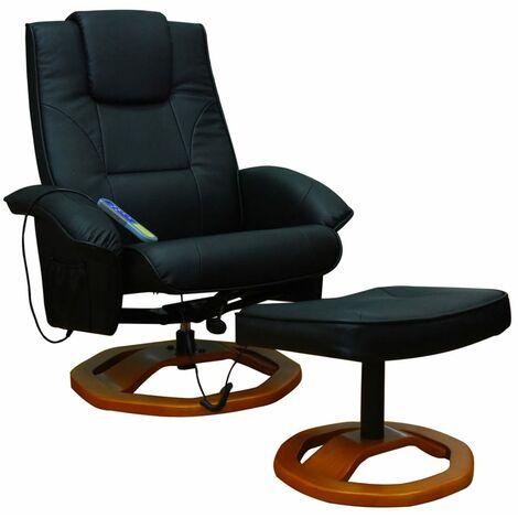 Fauteuil de massage avec repose-pied Noir Similicuir