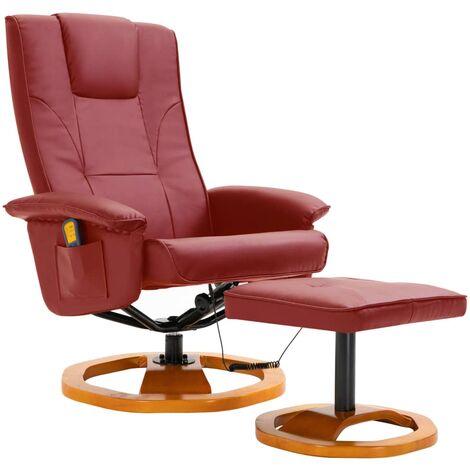 Fauteuil de massage avec repose-pied Rouge bordeaux Similicuir