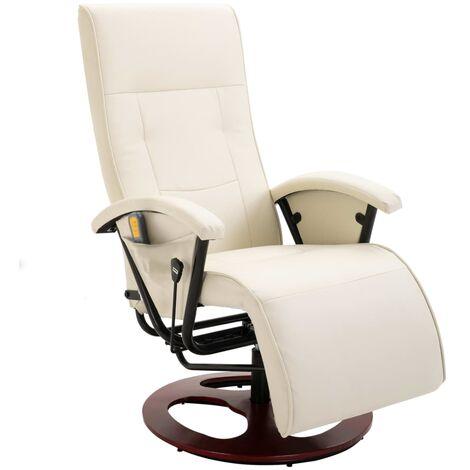 Fauteuil de massage Blanc crème Similicuir