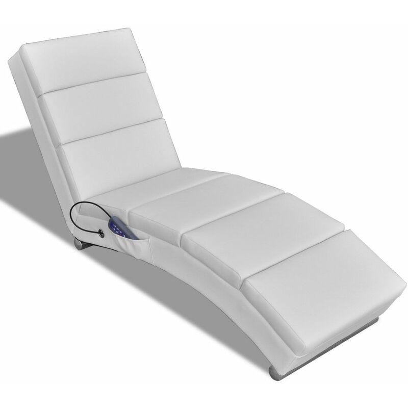 Helloshop26 - Fauteuil de massage chaise relaxation électrique blanc - Blanc