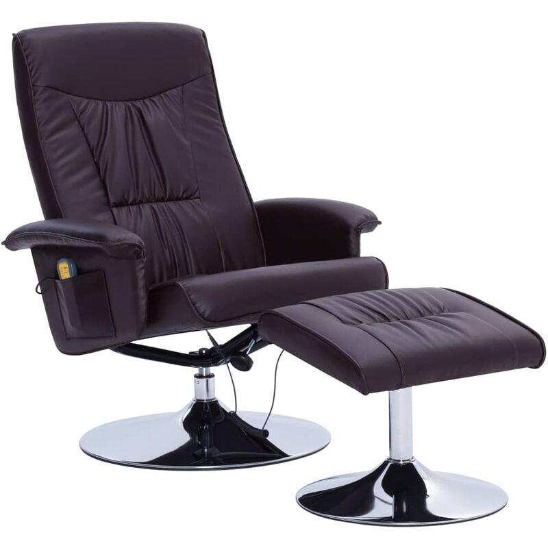 Helloshop26 - Fauteuil de massage confort relaxant massant détente avec repose-pieds marron similicuir - Marron