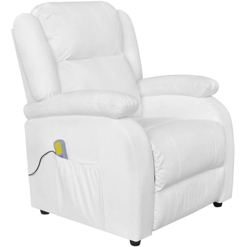 Helloshop26 - Fauteuil de massage confort relaxant massant détente électrique cuir artificiel réglable blanc - Blanc