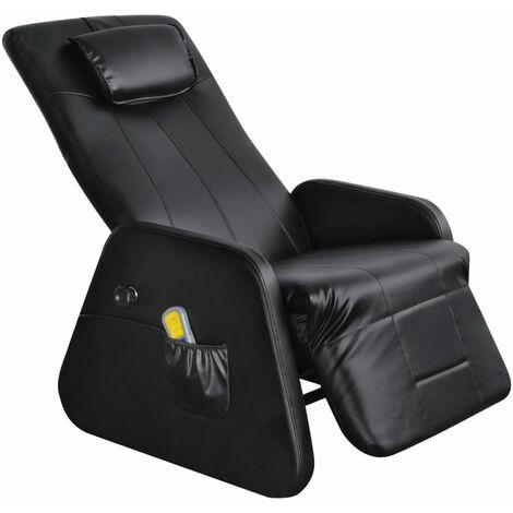 Fauteuil de massage confort relaxant massant détente électrique cuir synthétique noir - Noir