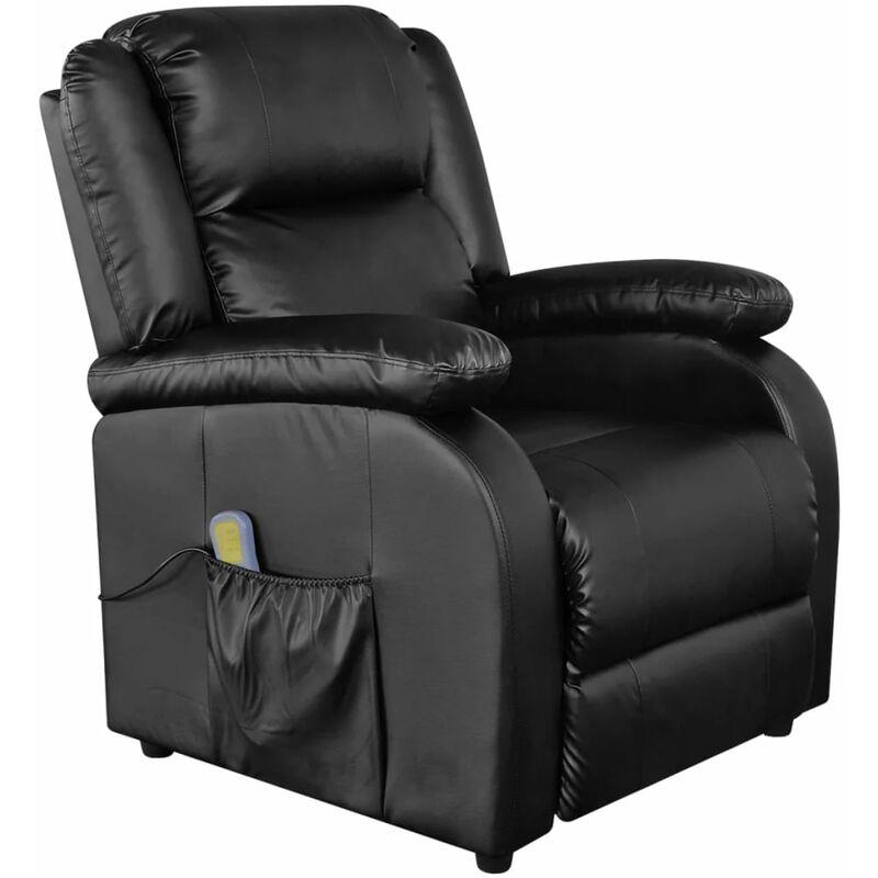 Helloshop26 - Fauteuil de massage confort relaxant massant détente électrique cuir synthétique réglable noir - Noir