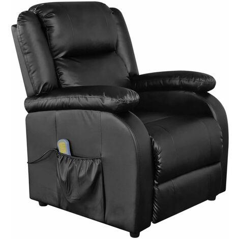 Fauteuil de massage confort relaxant massant détente électrique cuir synthétique réglable noir - Noir