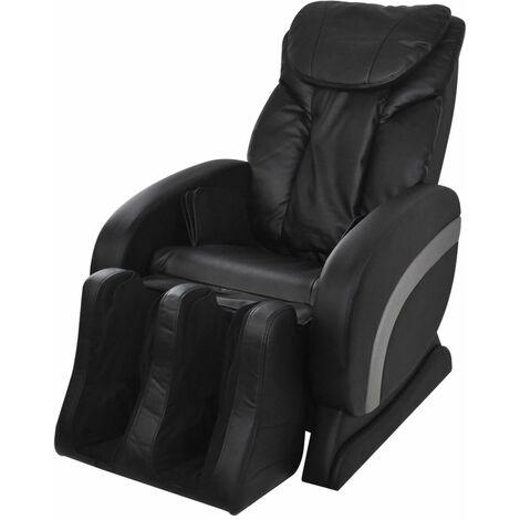 Fauteuil de massage confort relaxant massant détente électrique en cuir artificiel noir - Noir