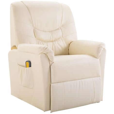 Fauteuil de massage électrique confort relaxant massant détente cuir artificiel crème - Crème