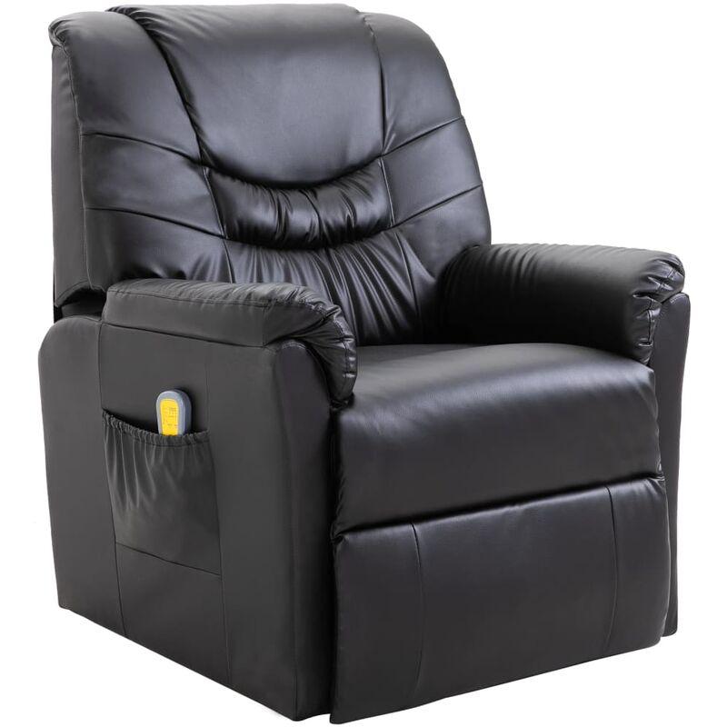 Helloshop26 - Fauteuil de massage électrique confort relaxant massant détente cuir artificiel noir - Noir